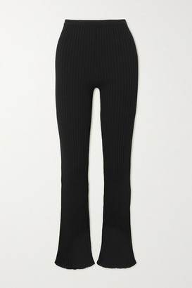Totême Ry Ribbed-knit Flared Pants - Black