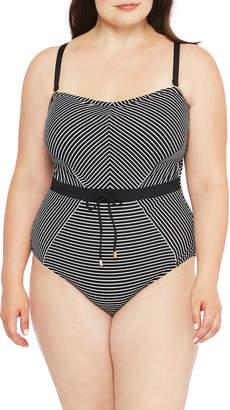 La Blanca Pinstripe Bandeau One-Piece Swimsuit