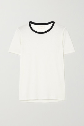 LOULOU STUDIO Teva Two-tone Ribbed Jersey T-shirt - Cream
