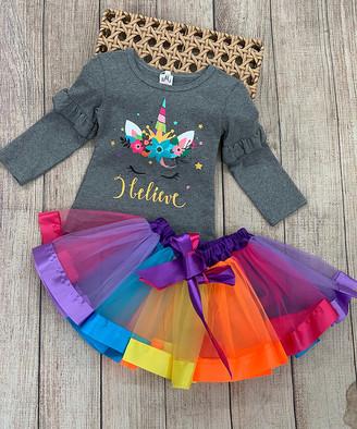 Mia Belle Girls Girls' Casual Skirts Grey - Gray 'I Believe' Unicorn Ruffle Long-Sleeve Tee & Rainbow Tutu - Toddler & Girls