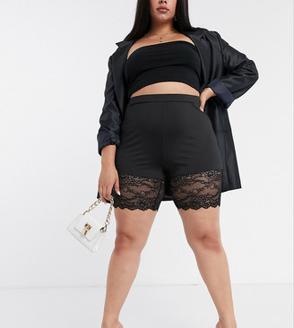 Saint Genies Plus lace trim bodycon shorts in black