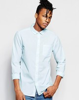 Asos Seersucker Shirt In Blue With Long Sleeves In Regular Fit