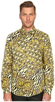 Versace All Over Baroque Tiger Print Long Sleeve Button Up