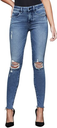 Good American Good Legs Ripped High Waist Fray Hem Jeans