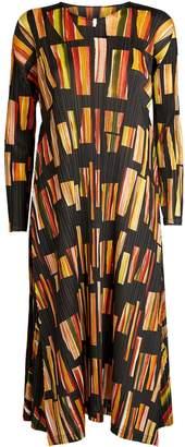 Pleats Please Abstract Print Pleated Dress