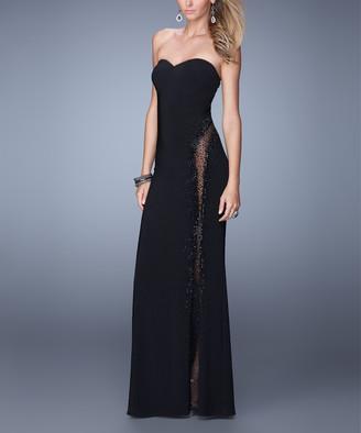 La Femme Women's Special Occasion Dresses Black - Black Sheer Beaded Side-Slit Sweetheart Gown - Women