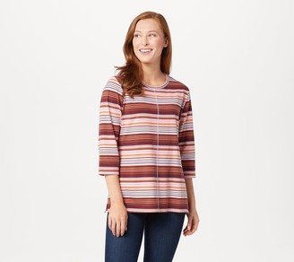 Denim & Co. Active Striped Printed Jersey Top with 3/4-Sleeve