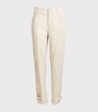 LOFT Plus Button Tab Hem Slim High Waist Ankle Pants