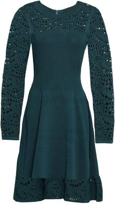 Milly Open Knit-paneled Stretch-ponte Dress
