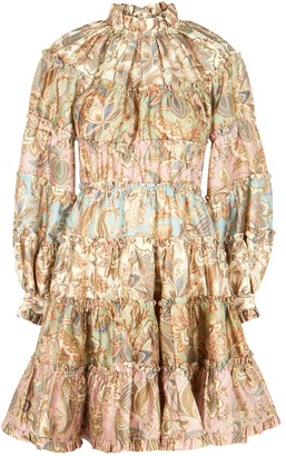 Zimmermann Ladybeetle printed ruffle-trimmed mini dress