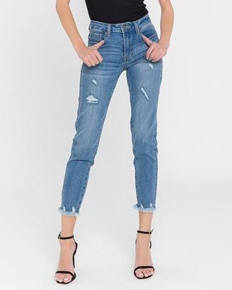 Express English Factory Mid Rise Raw Hem Skinny Jeans