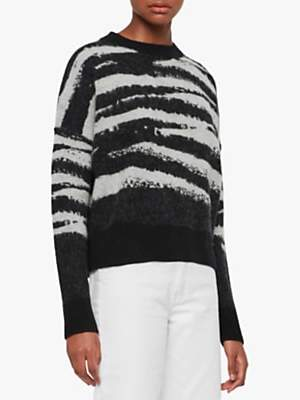 AllSaints Ture Merino Wool Blend Zebra Print Jumper, Black/Chalk White
