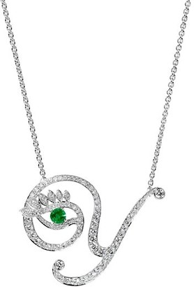 Tabayer Eye 18K White Gold, Diamond & Emerald Y Pendant Necklace