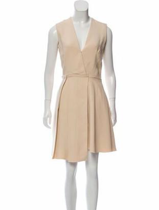 Victoria Beckham Pleated Knee-Length Dress Beige