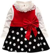 2Pcs Toddler Baby Girl Lace Shirt +Dot Bow Princess Kids Dress Clothes Sundress by XILALU