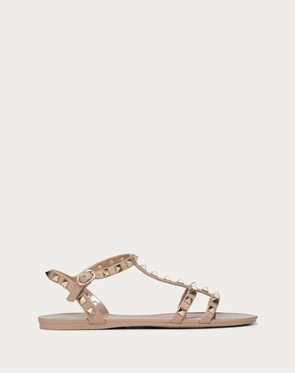 Valentino Rockstud Flat Rubber Sandal Women Poudre Pvc - Polyvinyl Chloride 100% 35