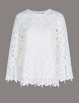 Autograph Lace Round Neck 3/4 Sleeve Shell Top