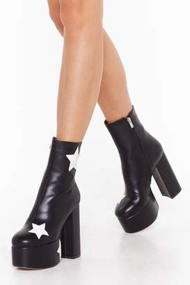 Nasty Gal Womens Get Up and Dance Platform Star Boots - black - 8