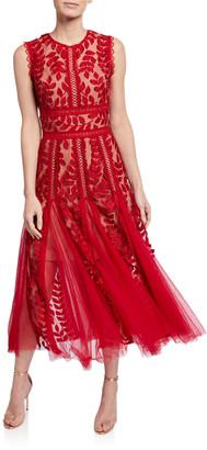 Bronx and Banco Saba Leaf Embroidered Sleeveless Midi Dress w/ Godet Detail
