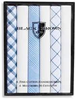 Black Brown 1826 6 Pack Fine Cotton Handkerchiefs