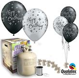 Very Black & Silver Happy Birthday Helium Canister & Balloon Kit