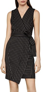 BCBGMAXAZRIA Pinstripe Faux-Wrap Dress