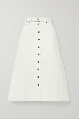 La Ligne Piped Cotton-blend Twill Midi Skirt - Ecru
