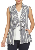 Chaus Bohemian Bloom Striped Linen Vest