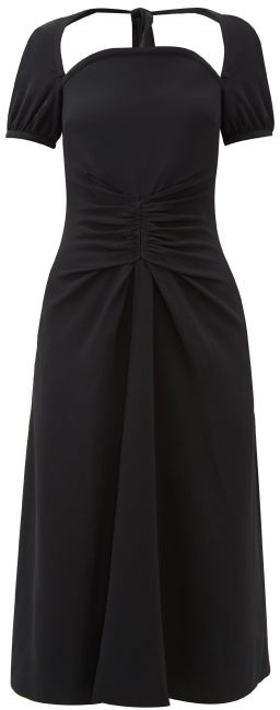 Rochas Tie-back Ruched Cady Dress - Black