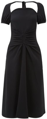 Rochas Tie-back Ruched Cady Dress - Womens - Black
