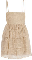 RED Valentino Pleated Swiss-dot tulle mini dress