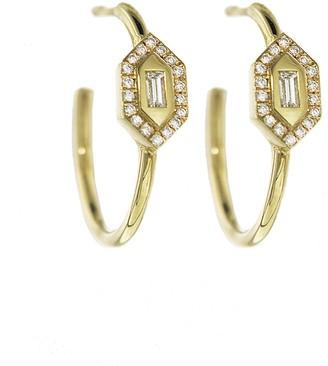 Azlee Diamond N/S Hoop Yellow Gold Earrings