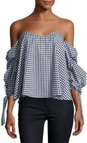 Caroline Constas Gabriella Off-The-Shoulder Gingham Bustier Top, Black/White