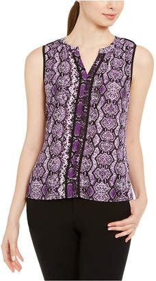 Calvin Klein Sleeveless Printed Split-Neck Top