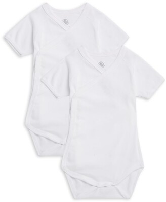 Petit Bateau Set Of 2 Cotton Crossover Bodysuits (0-12 Months)