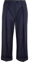 Preen by Thornton Bregazzi Cropped Wool-Twill Wide-Leg Pants