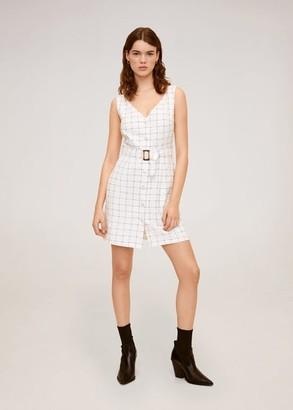 MANGO Checked cotton dress white - 2 - Women