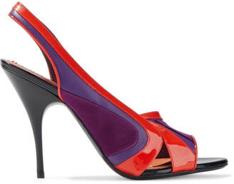 Emilio Pucci Satin, Smooth And Patent-leather Slingback Pumps