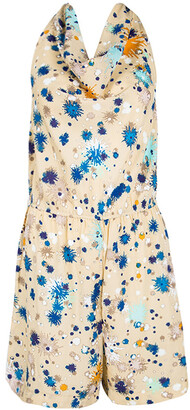 Matthew Williamson For Macy's Beige Printed Halter Neck Detail Romper S