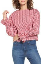 Soprano Women's Gingham Flare Cuff Top