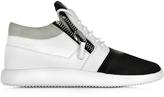Giuseppe Zanotti Megatron Black and White Fabric and Leather Sneaker