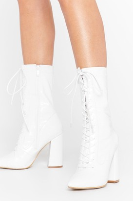 Nasty Gal Womens White High Block Heel Lace Up Boot