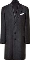 Neil Barrett Charcoal wool coat with leather detailing