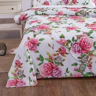 Dada Bedding Collection DaDa Bedding Romantic Roses Flat Sheet Only - Lovely Spring Pink Flora
