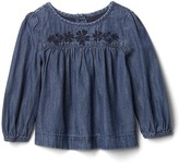 Gap 1969 Embroidered Chambray Top