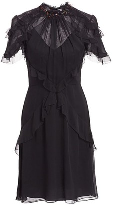 Jason Wu Collection Embellished Ruffle Silk Chiffon Dress