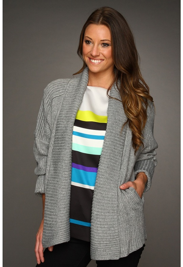 Vince Camuto Fold Back Open Front Cardigan (Carbon Heather) - Apparel
