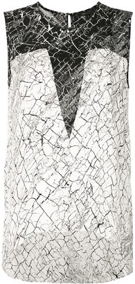 BCBGMAXAZRIA Crack Print Blouse