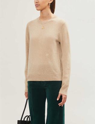Maje Moana logo-embroidered cashmere jumper