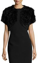 Jocelyn Rosette Patchwork Rabbit Fur Bolero, Black